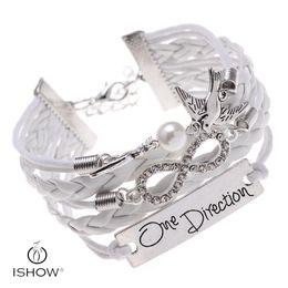 Wholesale Charm Brace - DIY Infinity One Direction Letter zinc alloy with Rhinestones charm brace gift charm bracelets big peral birds leather bracelets