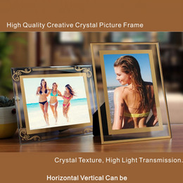 Wholesale Photo Frame Place - 5-10 Inch High Quality Creative Crystal Picture Frame Crystal Texture High Light Transmission Horizontal Vertical Can Be Placed.