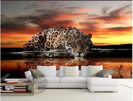 Wholesale Fiber Wall Covering - custom photo wallpaper High quality leopard wall covering living room sofa bedroom TV backdrop wallpaper mural wall paper