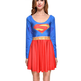 Wholesale Dc Dress - Adult Supergirl Costume Dress DC Comics Spandex Long Sleeve Women Superhero Dress Plus Size Supergirl Carnival Costume Cosplay
