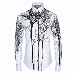 Style de chemise matérielle en Ligne-Nouvelle Arrivée Marque De Mode Hommes 3D Peinture Abstraite Impression Chemise Style 3D Chemise À Manches Longues De haute qualité matériel Robe Chemises