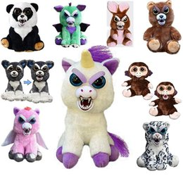 Wholesale Face Cartoons - 16types Feisty Pets One second Change face Animals 20CM 8 Inch Plush toys cartoon TY monkey bear unicorn Stuffed Animals baby Christmas gift
