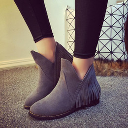 Wholesale Wholesale Womens Shoes Boots - Wholesale- Faux Leather Comfort Casual Ladies Autumn Shoes Womens Ankle Boots Lace Up Chunky Heeled 2015 New Women Winter Boots WSH834