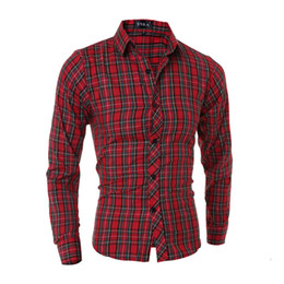 Wholesale- 2015 New  Cotton Color Plaid Red Fashion Mens Dress Shirts Long sleeve Slim Fit Casual Social Camisas Masculinas M-XXL cheap wholesale mens red dress shirt от Поставщики оптовая мужская красная рубашка