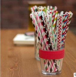 Wholesale Drinking Straws Dotted - Paper Straw Eco Straws with Dot Stripe Drinking Straws for Tumbler Mugs Cups Suckers for Party Wedding Home Hot Sale