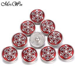 Wholesale Snowflake Buttons - Wholesale-10pcs lot Christmas Snap Button Jewelry Snowflake 18MM Snaps Buttons Charms for DIY Snap Jewelry Bracelet