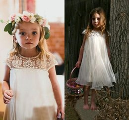 Wholesale Tulle Flower Girl Empire - 2017 Vintage Flower Girl Dresses for Beach Bohemian Wedding Rhinestones Tea-Length Cap Sleeve Empire Ruffled Tulle First Communion Dresses