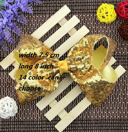 Wholesale Girl Bubble Cute - 8 inch 2017 new children's sequined hair clips Cute baby big bow bubble flower hairpin Girl Christmas headdress 2017 hair ornaments L8