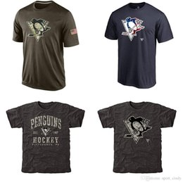 Wholesale Penguin Shirts - NHL Penguins T-Shirts cheap Hockey jerseys Tshirts Pittsburgh Salute To Service Camo Stack Rink Warrior Tri-Blend 1pcs free shipping