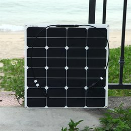 Wholesale Mc4 Solar - Solarparts 1pcs 50w flexible solar panel battery with 0.5M cable MC4 connector 12V solar charger for home RV yacht led light power