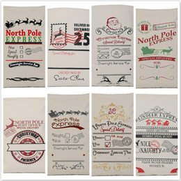 Wholesale Rustic Linens - 2016 New 8 style Christmas Gift Bag High Quality Drawstring Canvas Santa Sack Rustic Vintage Christmas Stocking Bags Decoration
