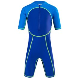 Wholesale Sleeve Swimsuit Baby - 4 colors kids baby boys and grils wetsuit swimsuit swim swear uv protection bodysuit one piece short sleeve and leggs lycra skin rush guard