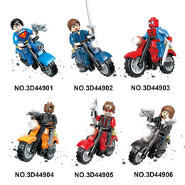 Wholesale Plastic Motorcycle Toys - high quality Mini figures motorcycle super man ninjial spiderman  Building Blocks Baby Brick toy Kids Gift from shenzhen free shipping