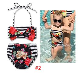 Wholesale Wholesale Toddler Girls Bathing Suit - Ins girls bikini stripe flower Print baby Swim Suits cute Children two-piece swimming suit Kids Bathing Suits Toddler Sets Beachwear A584