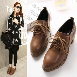 Wholesale Small Shoes Size 31 32 - Small size 31 32 33 the spring and autumn period and the British institute of round head wind shoes brock shoes with high heels with coarse