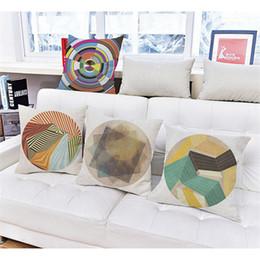 Wholesale Blue Pattern Cushion - wholesale Creative polygon printing pattern Cushion Cover Cotton Linen circle Pillow case Home Car Sofa Decorative Throw Pillows 45*45cm