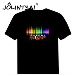 Wholesale El Lighting T Shirts - Wholesale- Hot Sale Sound Activated Led Cotton T Shirt Light Up and Down Flashing Equalizer EL T-Shirt Men for Rock Disco Party DJ Top Tee