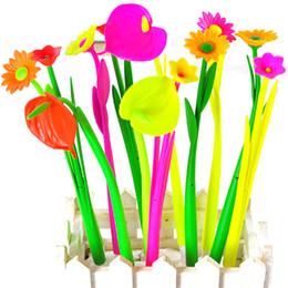 Wholesale Cute Stationery Office Supplies - Wholesale- 6Pcs Kids Cute Flower Bloom Ball Point Pen Kawaii Floral Stationery 20cm Supplies School Office Accessories Gifts On Sale