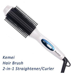 Wholesale Faster Times - Kemei Km-8110 Professional Fast Heat Brush Hair Straightener Flat Iron Electric Ceramic Hair Comb Straightener Straightner Curler