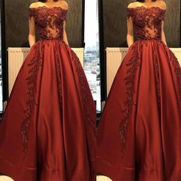 Wholesale Dress Bride Boat - Free Shipping Robe De Soiree Modest Boat Neck Red Satin Evening Dresses Bateau Bride Banquet Gowns Women's Party Gowns Prom Dress