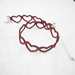 Wholesale Sweet Red Wine Wholesale - Women Vintage Sweet heart Love Choker Red Wine Carved Velvet Leather Collar Sliver Plated Graceful Choker Wholesale Hot sale