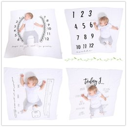 Wholesale Cute Babies Photo Pink - Baby printing cotton gauze swaddle 120x120cm cute printing blanket baby infants photo props kids bed sheet swaddle