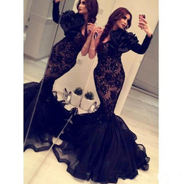 Wholesale Sex Long Gown - Arabic India 2017 Formal Mermaid Evening Dresses Long Sleeves Black Lace Organza Occasion Gowns Crystals Backless Cheap Prom Dress Sex