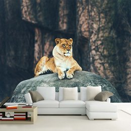 Wholesale Photo Lions - Custom HD Photo Wallpaper 3D Stereoscopic Animal Lion Leopard Mural Wallpaper Living Room Bedroom Sofa Backdrop Murals Wallpaper