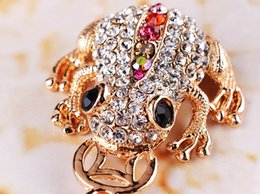 Wholesale Origami Ring - Key Rings Charms Alloy 2 Color Rhinestone Frog Animals Lobster Clasp Origami Style Charms & Pendants DIY Jewelry Accessories