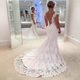 Wholesale Low Back Style Wedding Dresses - Luxury Lace Wedding Dresses Low Back Western Style 2017 Vintage Lace A Line V-neck Wedding Bridal Gowns Sweep Train Custom Made