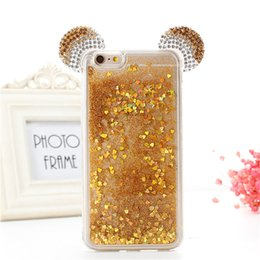 Wholesale Ear Dirt - Diamond Glitter Stars Dynamic Liquid Quicksand 3D Mickey Minnie Mouse Ears Rhinestone Phone Cases Cover For iPhone X 8 7 7Plus 6 6G 6S 6Plus