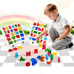 Wholesale Educational Letters - Kindergarten Wooden Educational Toys Kid Baby Learning 1-20 Number Alphabet A-Z Letters Matching 3D Jigsaw Puzzle Multi-Color Hand Grab Game
