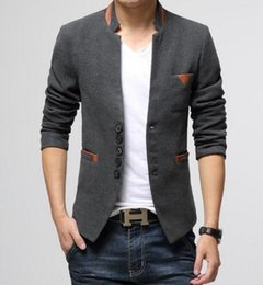 Wholesale Slim Suit Jacket Leather Sleeves - Wholesale- New 2017 Men Casual Business Blazers Slim Fit Leather Patchwork Single Breasted Brand Design Fashion Male Suit Blazer Jacket