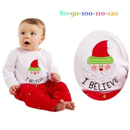 Wholesale Toddler New Years Outfit - New Baby Christmas Sets Kids Boutique Clothing Suits 2pcs Toddler Outfit Santa Infant Tops+Pants New Year Set Babies Outfits A7640