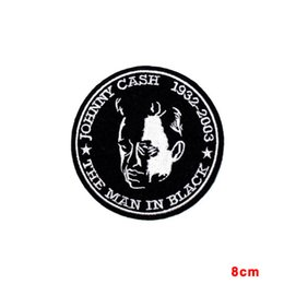 Wholesale Singer Wholesale - NEW ARRIVE J.R. JOHNNY CASH Men in Black Singer Songwritter Music Embroidered Iron On Patch