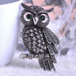 Wholesale Big Owl Scarf - Wholesale- Brand New Austrian Crystal Big Owl Brooch For Party Dress Accessories Vintage Corsage Scarf buckle femininos Women men Brooches