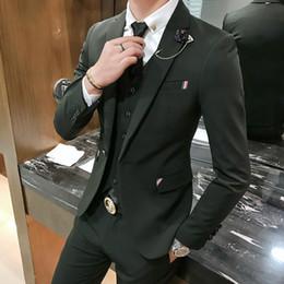 Wholesale Handsome Shirts - Men's Suits Flour Piece Autumn Leisure Suit Handsome Groom Wedding Dress Black Gray Groomsmen (Jacket+Pants+Tie+Vest+Shirt) Tuxedos