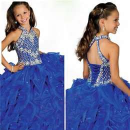 Discount discount-discount - Sell like hot cakes! Most Lovely Halter Sweep Train Ball Gown Pageant Girls Dresses Ruffles Organza