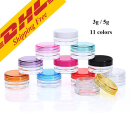 Wholesale Free Eyeshadow Samples - DHL FREE 3g 5g transparent small round bottle Cosmetic Empty Jar Pot Eyeshadow Lip Balm Face Cream Sample Container 11 colors