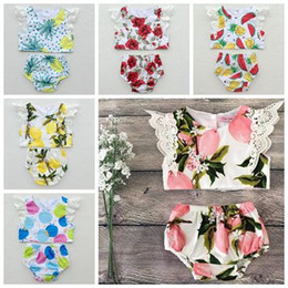 Wholesale Girls Underwear Sets - 2017 summer girls outfits boutique kids clothes childrens clothing sets baby floral tops lace sleeve vest shirt + flower shorts underwear