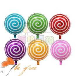 Wholesale Baby Wholesale Supplier - 50pcs lot 18inch round candy Aluminum foil balloons lollipop shaped helium balloon baby birthday party supplier kid's gifts toy