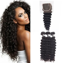 Wholesale Free Hair Products - Free Shipping UGlam Products Hair Extensions Malaysian deep wave 3pcs Human Hair Wefts with Closure 1pc 4X4 Lace Closure