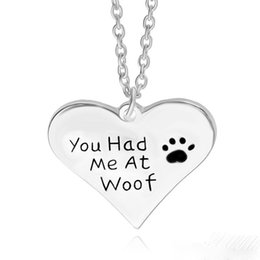 Wholesale Necklaces For Pets - you had me at woof pet lover cant dag paw Print Heart pendant Necklace heart shaped pendants Wholesale Jewelry sample nacklaces for women