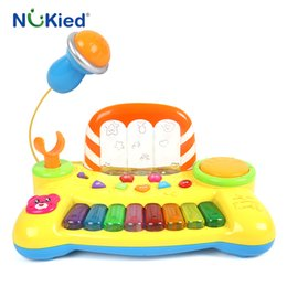Wholesale Kids Piano Microphone - NUKied Kids Music Fountain Electronic Keyboard Toy With Microphone Song Light Sound Baby Musical Instrument Educational Piano