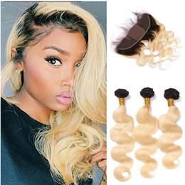 Wholesale Ombre Silk Base Closure - Brazilian Body Wave Wavy Silk Base Lace Frontal 13x4 #1b 613 Blonde Human Hair Silk Top Lace Frontal Closure Pieces With Hair Bundles