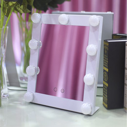 Wholesale Hollywood Lighting Vanity - Hot Sale Vanity Lighted Hollywood Tabletop Dressng Makeup Mirrors with Dimmer Stage Beauty Mirror LED Bulb DHL Free Shipping