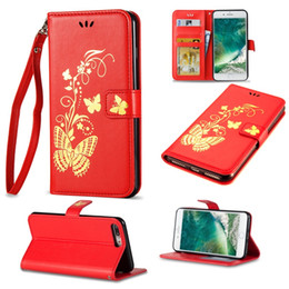 Wholesale Iphone Cases Print - Luxury Butterfly Leather Case Bronzing Printing Leather Wallet Shell For iPone 8 7 6 6S Plus 5 5S S7 Edge S8 plus J3 j5 j7 emerge 2017 2016
