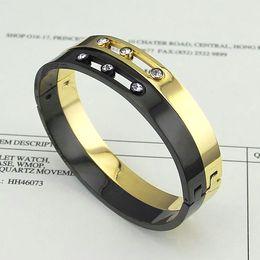 Wholesale Stainless Bangle Cz Bracelet - Wholesale fashion brand messika love bracelet Titanium Steel 3 cz diamond can move cuff bangle for women Pulseira Feminina Masculina