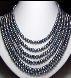 "Wholesale Long Cultured Pearl Necklaces - Long 130"" 7-8mm Black Akoya Cultured Pearl Necklace 14k"