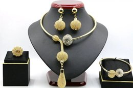 Wholesale Sets For Big Girls - indian gold plated necklace and earrings set African big gold jewelry set for wedding JH114